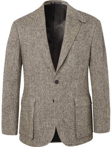 Polo Ralph Lauren Brown Slim-Fit Herringbone Wool Suit Jacket