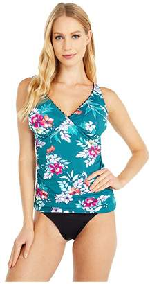 Tommy Bahama Floral Springs Wrap Over the Shoulder Shirred Tankini (Caledon Sea) Women's Swimwear