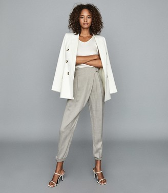 Reiss ROSALIE WRAP-FRONT TROUSERS Grey