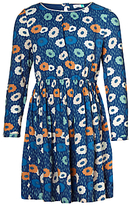 John Lewis Girls' Illustrated Floral Print Dress, Blue