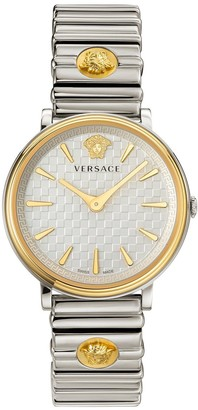 Versace V-Circle Silver and Gold Detail Dial Stainless Steel Bracelet Ladies Watch