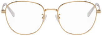 Bottega Veneta Gold and Transparent Round Glasses