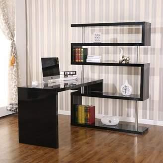 Ebern Designs Yerby Foldable Rotating Corner Desk Ebern Designs Finish: Black