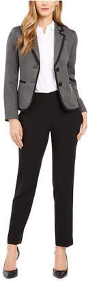 Le Suit Petite Two-Button Contrast-Trim Pantsuit