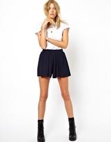 Asos High Waist Culotte Shorts - Navy