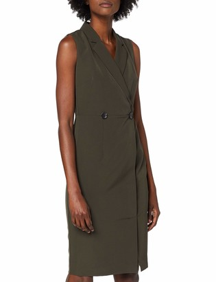Dorothy Perkins Women's Khaki Wrap Tux Dress Knee-Length A-Line Party Dress