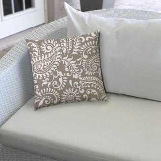 "Charlton Home Goehring Indoor / Outdoor Paisley 0.25"" Throw Pillow Cover Color: Gray/White"