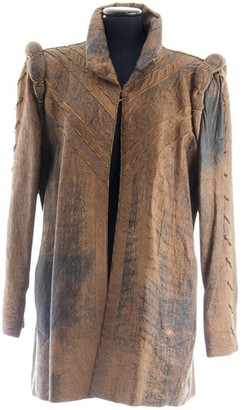 Roberto Cavalli Brown Leather Coat for Women Vintage