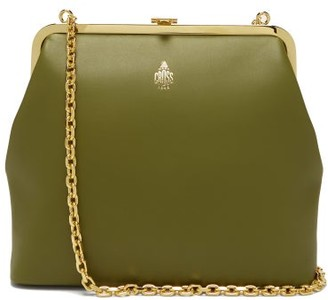 Mark Cross Susanna Gold-plated Leather Clutch Bag - Khaki Multi