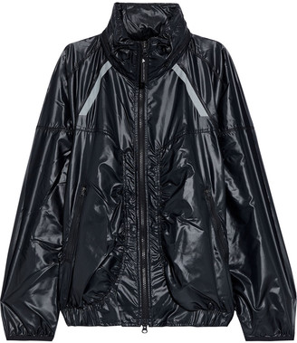 adidas by Stella McCartney Ruched Glossed-shell Hooded Jacket