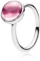 Pandora Ring - Sterling Silver & Crystal Pink Poetic Droplet