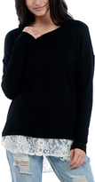 Bellino Black & Ivory Lace-Hem Top