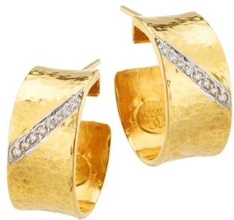 Gurhan Hourglass 22K Yellow Gold, 18K White Gold & Diamond Hoop Earrings