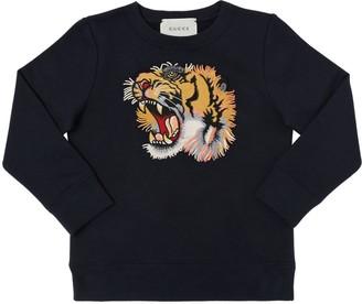 Gucci Tiger Embroidered Cotton Sweatshirt