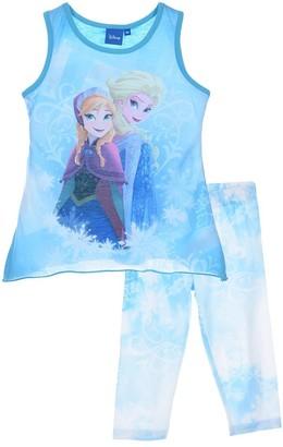 Disney Girls Frozen Sleeveless T-Shirt/Top & 3/4 Leggings Set Blue-6 Years / 116 cm
