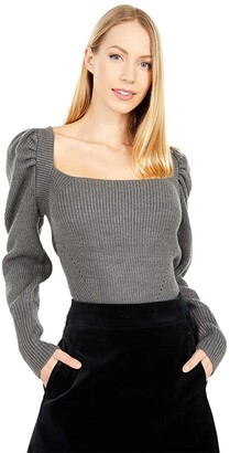 WAYF Leland Tie Back Puff Sleeve Top (Dark Grey) Women's Dress