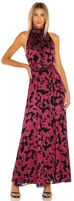 Alice + Olivia Dita Smocked Neck Maxi Dress