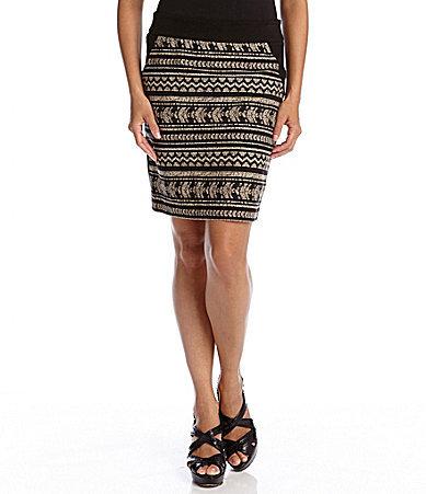Karen Kane Fiji Tribal-Knit Front Skirt