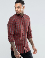 Asos Check Shirt In Rust With Long Sleeves