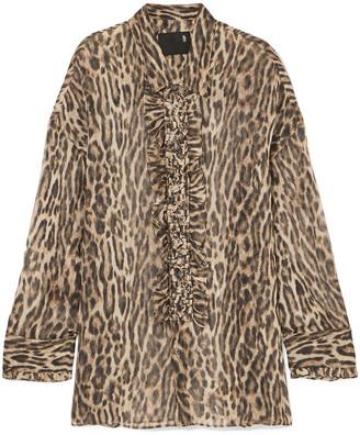 R 13 Oversized Ruffle-trimmed Leopard-print Silk-chiffon Blouse