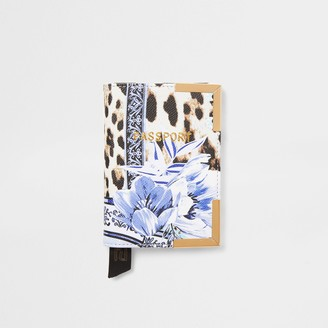 River Island Womens Blue animal and floral print passport holder