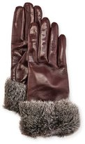 Gala Gloves Leather Fur-Trim Gloves, Bordeaux