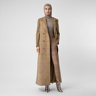 Burberry Contrast Check Wool Cotton Trench Coat