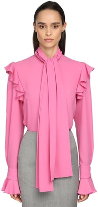 Alexander McQueen Georgette Blouse W/Self-Tie Bow Collar
