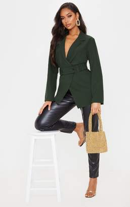 PrettyLittleThing Khaki Elasticated Belt Detail Blazer