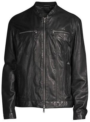 John Varvatos Zip-Front Leather Jacket
