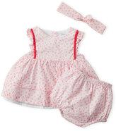 Absorba Newborn Girls) 3-Piece Printed Flutter Dress & Bloomers Set