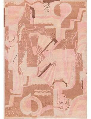 Nazmiyal Collection French Vintage Art Deco Red/Pink Area Rug Nazmiyal Collection