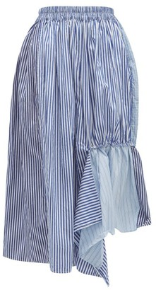 By Walid Frida Striped Asymmetric Cotton-canvas Skirt - Blue Multi