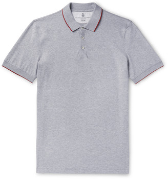 Brunello Cucinelli Slim-Fit Contrast-Tipped Cotton-Pique Polo Shirt