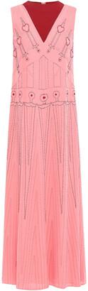 Valentino Bead-embellished Embroidered Two-tone Silk-crepe Midi Dress