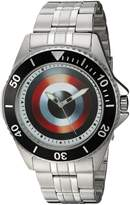 Marvel Men's 'Captain America' Quartz Stainless Steel and Alloy Casual Watch, Color:-Toned (Model: WMA000009)