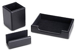 ROYCE New York 3 Pc. Suede Lined Executive Desk Accessory Set