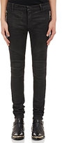 Balmain Men's Coated Skinny Biker Jeans-BLACK