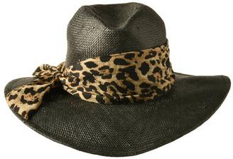 Bondi Beach Bag Co 3-7913 Black Leopard Leopard Trim Sun Hat