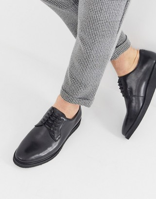 Walk London Jimmy chunky derby shoes in black leather