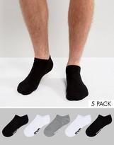 Asos Branded Sneaker Socks In Monochrome 5 Pack
