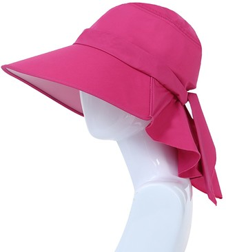 Setucamp Womens Bucket Hat Summer Flap Cover Cap Cotton Anti-UV UPF 50+ Large Brim Adjustable Floppy Hat with Neck Cord Visor/Beach Sun Hat Rose