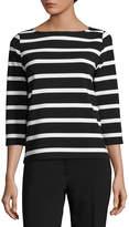 Liz Claiborne 3/4 Sleeve Round Neck Stripe T-Shirt - Tall