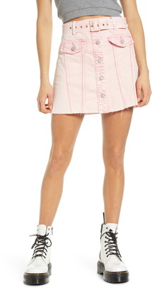 Blank NYC Belted Denim A-Line Miniskirt