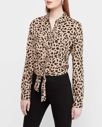 Express Leopard Print Button Tie Front Utility Shirt