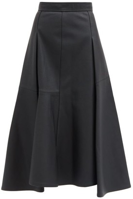 Vika Gazinskaya Flared Handkerchief-hem Faux-leather Skirt - Black