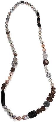 "Stephen Dweck Long Dark-Stone Necklace, 40""L"