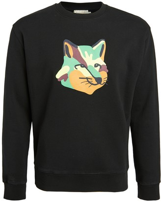 MAISON KITSUNÉ Crew Neck Sweatshirt with Neon Fox Print