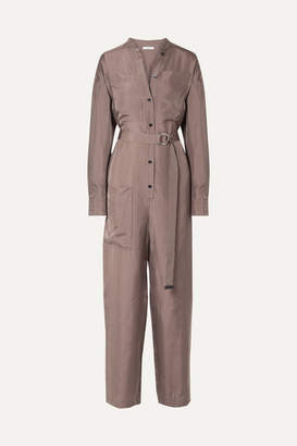 Tibi Walden Belted Checked Cupro Jumpsuit - Brown