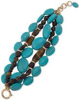 Lauren Ralph Lauren Gold-Tone Blue Stone and Wooden Bead Bracelet